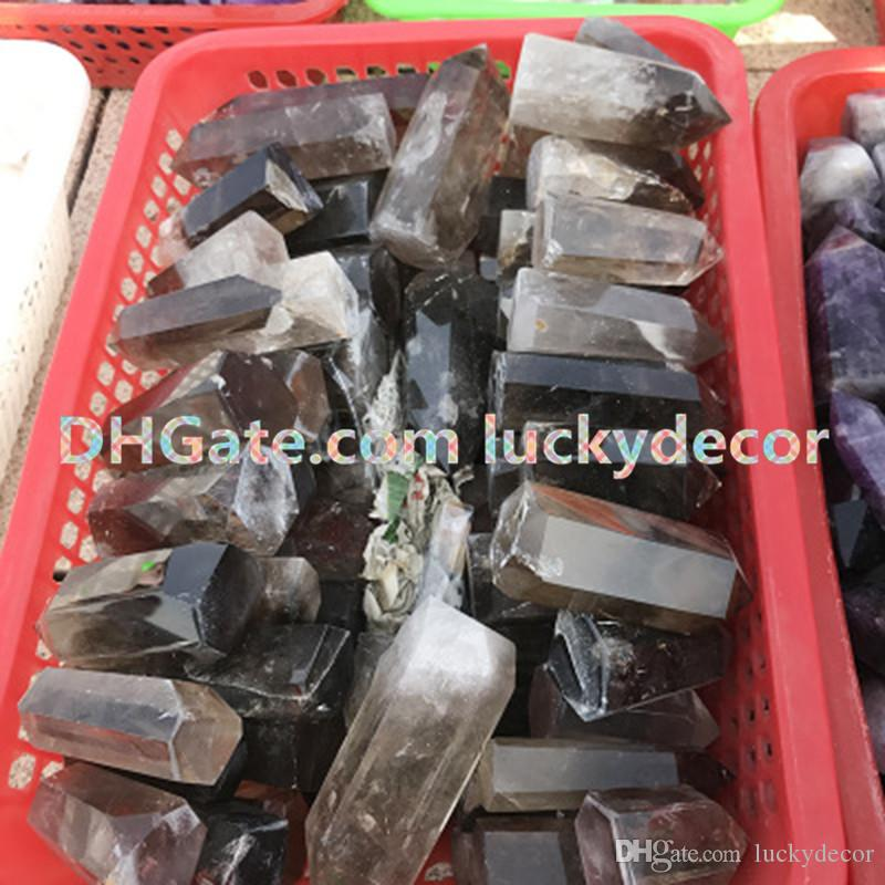 Quarzo fumé torre di cristallo punto mano taglio sfaccettato naturale pietra preziosa minerale obelisco bacchetta bastone guarigione di cristallo, reiki e griglie di cristallo