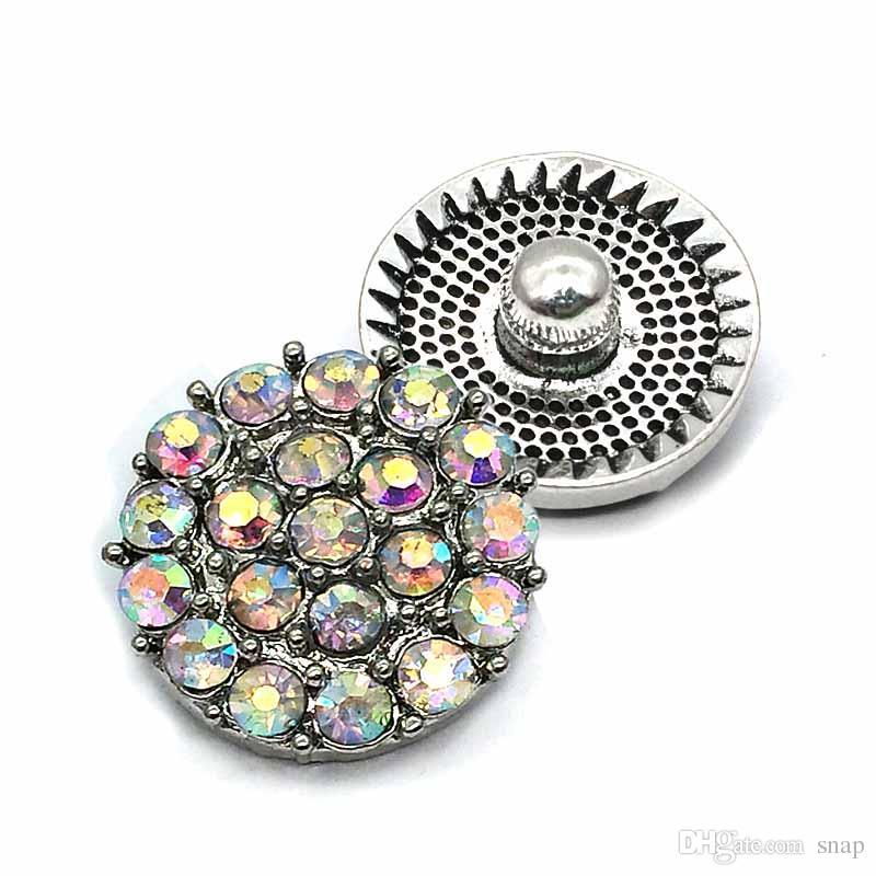 Flores de alta calidad del corazón W162 18 mm 20 mm rhinestone botón de metal para el botón a presión pulsera collar de la joyería para las mujeres joyería de plata
