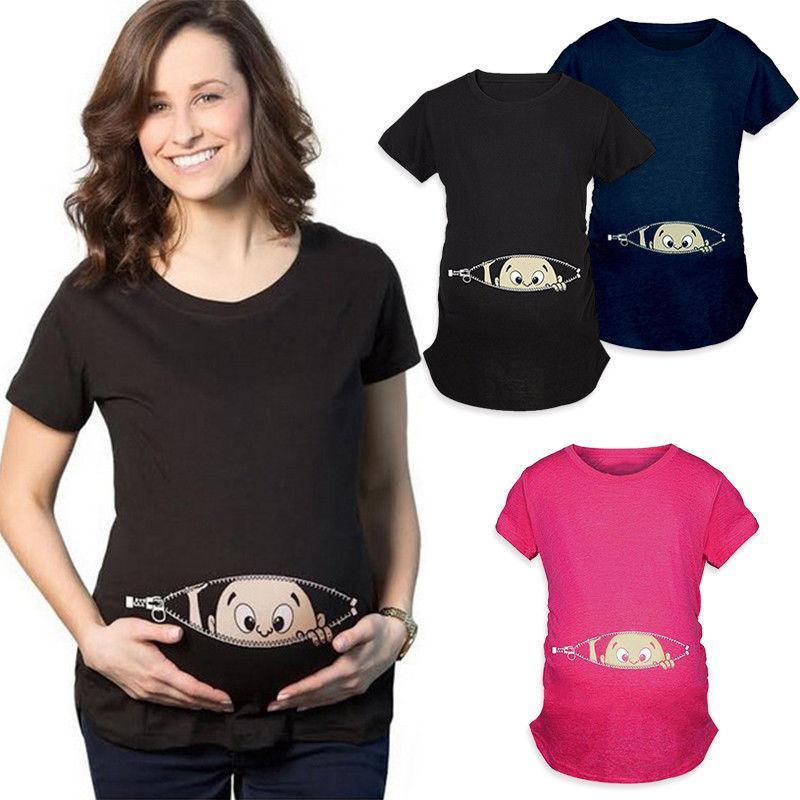 a373e4a32 Compre 2018 Nuevo Verano Más El Tamaño M 2XL Embarazo Camiseta De Dibujos  Animados Bebé Imprimir Staring Mujeres Maternidad Embarazada Camiseta De  Manga ...