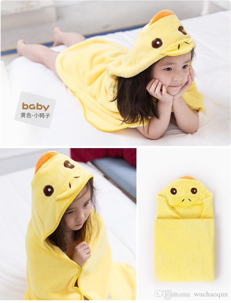 90*90cm Kids Animal Bathrobe Toddler Girls Boys Cartoon Pattern Towel Hooded Bath Towel Terry Wrap