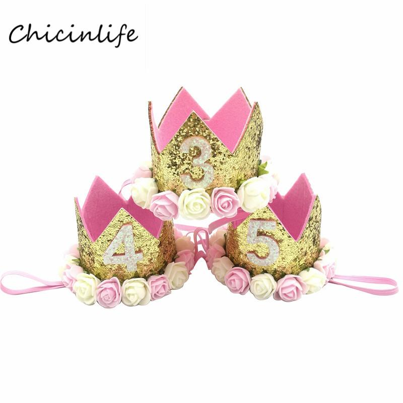 Chicinlife Baby Girl Boy One 1 2 3 4 5 6 7 8 9 Years Old Birthday Hat Crown Headbands Birthday Party Decoration Hair Decorative
