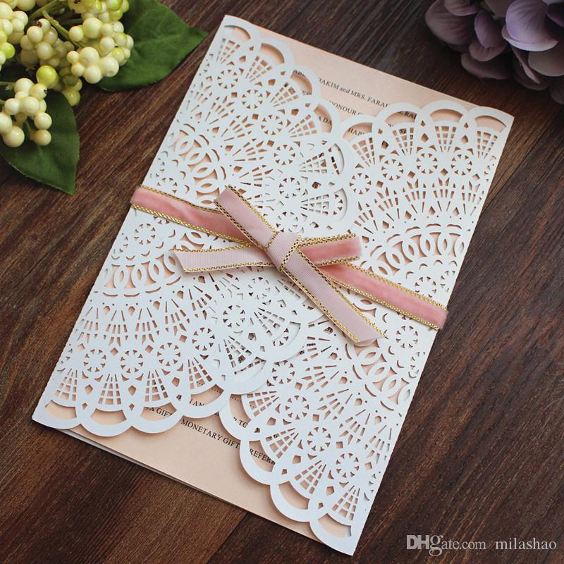Vintage Country White Wedding Invitations with Nude Pink Insert Card
