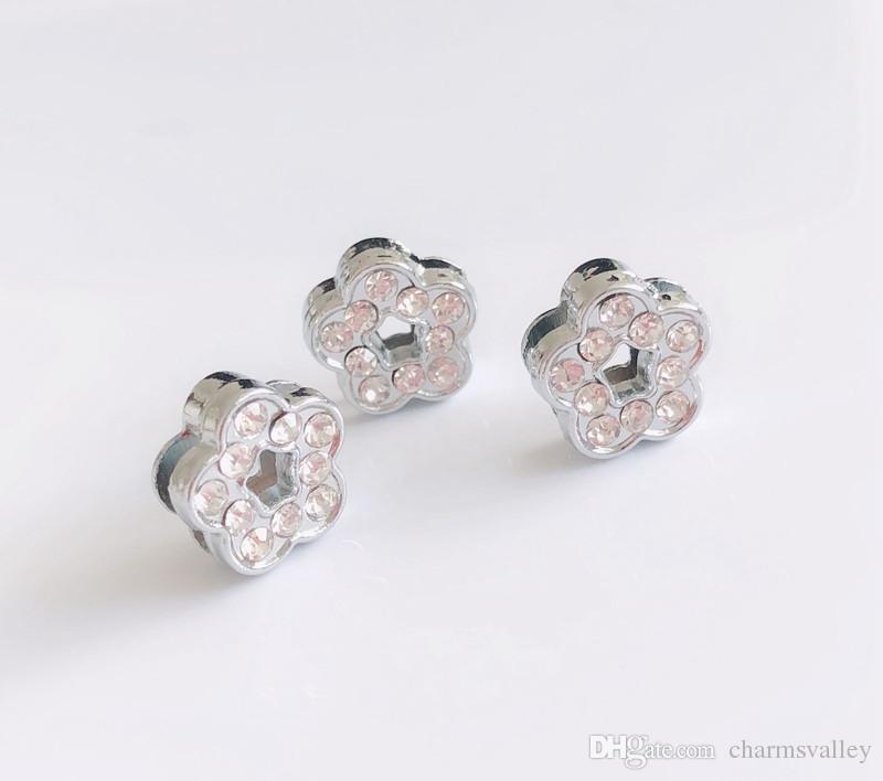 8MM Silver Rhinestone Flower Slide Charms Beads Fit 8mm Pet Collar Belts Tags Keychain Bracelet Wristbands