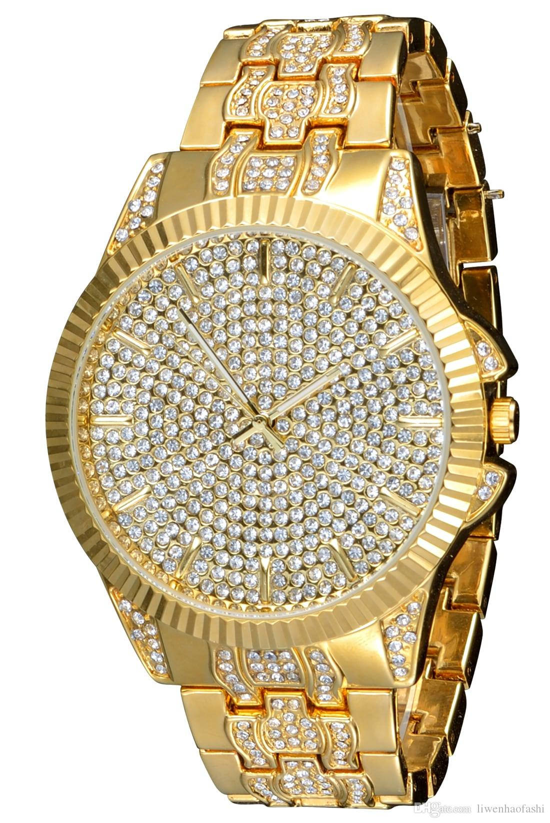 Men Gold Plated Crystal Watches for Men Like Diamond Quartz Watch Luxury Wristwatch Big Dial Round Watch