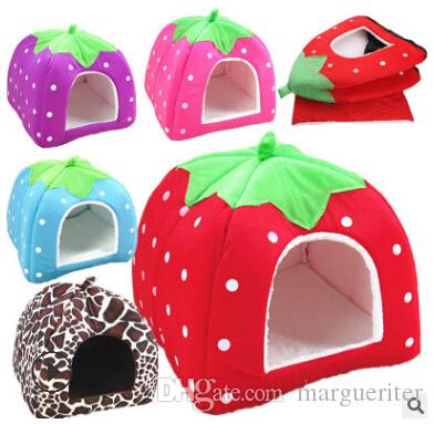Cute Strawberry Pet Dog Cat House Leopard Soft Sponge Bed Warm Cat Home Foldable Kennel Cat Nest