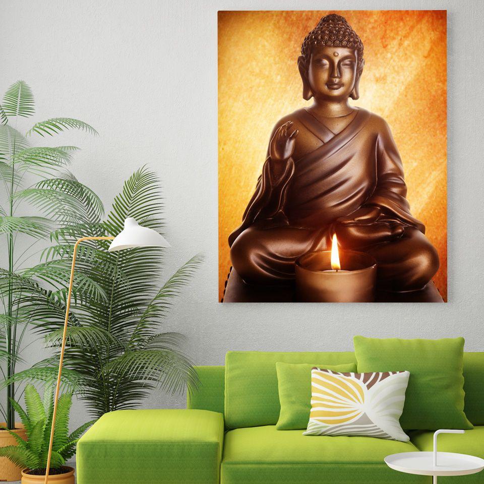 HD Impresso 1 peça Buddha sentado pintura sala de estar decoração pinturas para sala de estar parede Frete grátis / NY-6814C