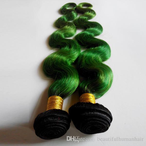 Tone Ombre Tisse Brésilien Corps Vague de Cheveux Humains Trame 8-28 pouces Nouvelle Étoile Européenne Indien Extensions de Cheveux 1B / vert No Shedding Aucun Tangle