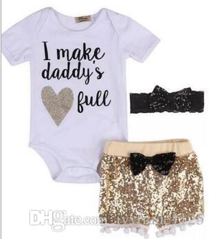 Bebek giyim kız Çocuklar 3 ADET setleri% 100% Pamuk kısa kollu romper + madeni pul kısa + kafa nedensel yaz kız romper set kız giysileri