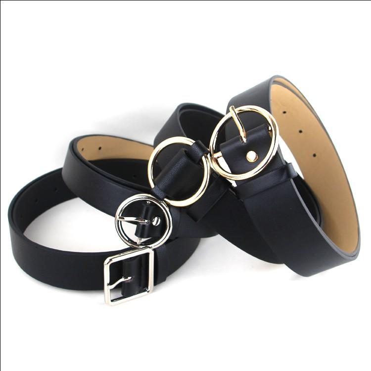 Hot Circle Pin Buckles Belt Female Deduction Side Gold Buckle Jeans Wild Belts For Women Fashion Students Simple Casual Trousers Apparel Accessories