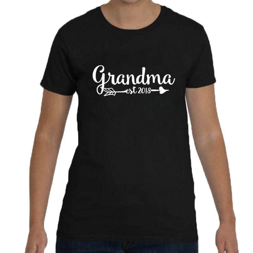 541ab3f0 Women's Tee Pregnancy Announcement Grandma T Shirt Est Since 2018 Funny  Saying Letters Printing Tshirt Women Fashion Gift T Shirt