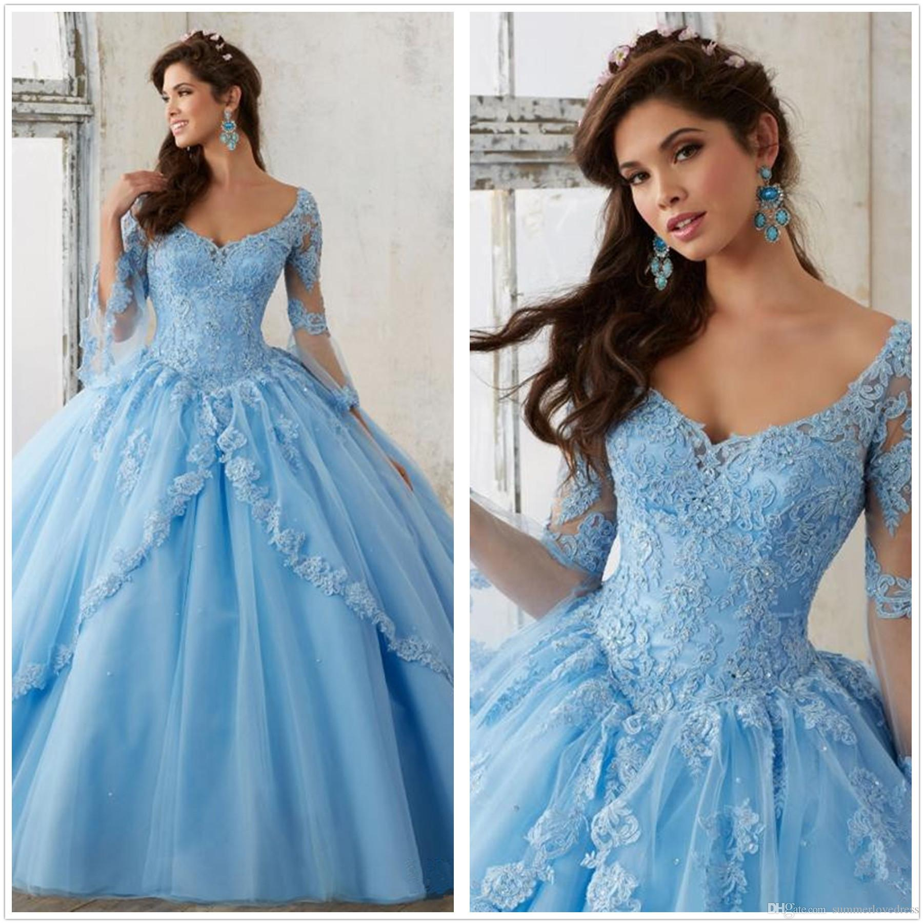 cc1b45b043 2018 Light Sky Blue Ball Gown Quinceanera Dresses V Neck Long Sleeves Tulle  Lace Applique Princess Prom Party Dresses For Sweet 16 Girls Maid Of Honor  ...