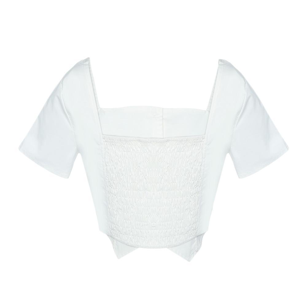 VESTLINDA Crop Top 2018 Collo quadrato manica corta Camicia Button Camicette Blusas donna Casual Camicetta bianca Femme ritagliata Top sexy
