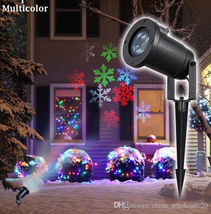 2018 holiday lighting christmas snowflake projector outdoor led lawn light waterproof for garden decor white rgb with power plug from china_wholesale20