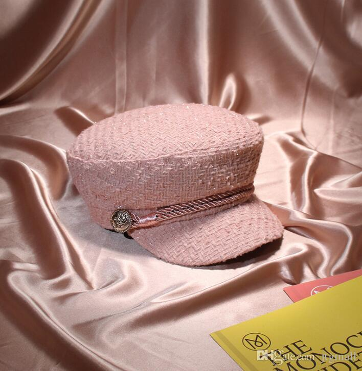 5e6232754d420 2019 Winter Women Fashion Vintage Wool Pink Visor Beret Hats Gold Thread  Tweed Military Hat Gorras Snapback Female Casquette From Jtgmall