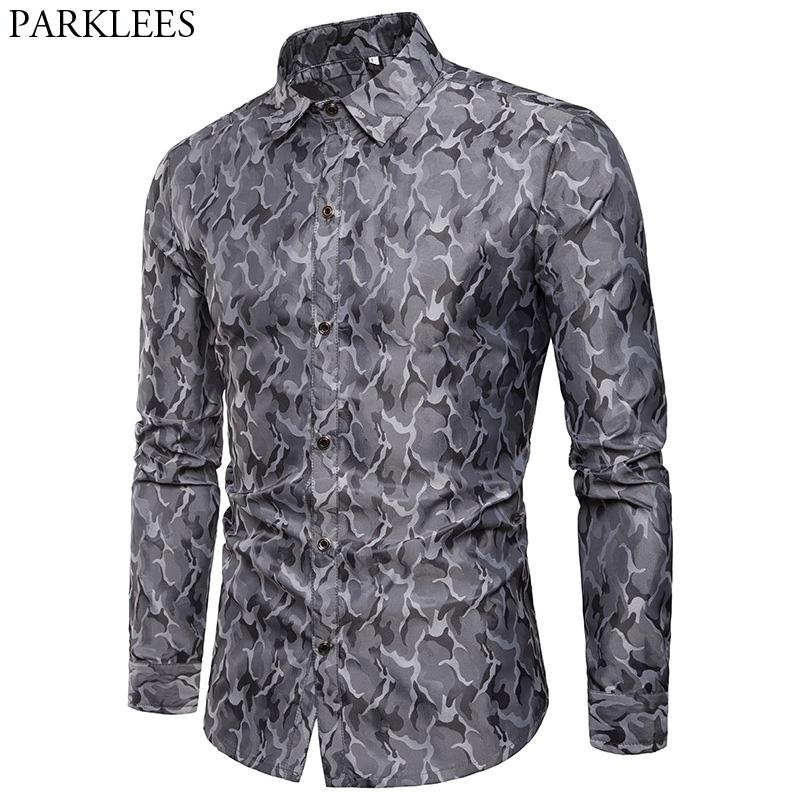 2dfc68a161 2019 Mens Smooth Silk Cotton Dress Shirt 2018 Casual Slim Fit Long Sleeve  Shirts Men Fashion Camouflage Performance Night Club Shirt From Crutchline,  ...
