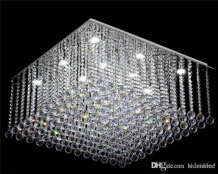 Lampadario Gocce Cristallo Moderni.Acquista Lampadario Di Cristallo Quadrato Moderno K9 Cristallo