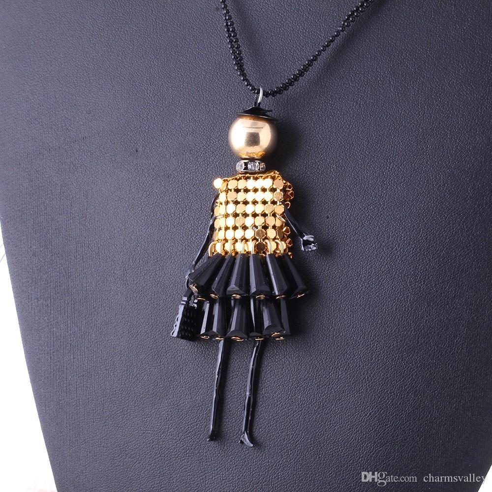 1 stücke Mischfarbe Kristall Halskette Nettes Mädchen Puppe 9 * 2 cm Anhänger Halskette Bling Pailletten 69 cm Lange Halsketten Für Frauen Mädchen Schmuck geschenk