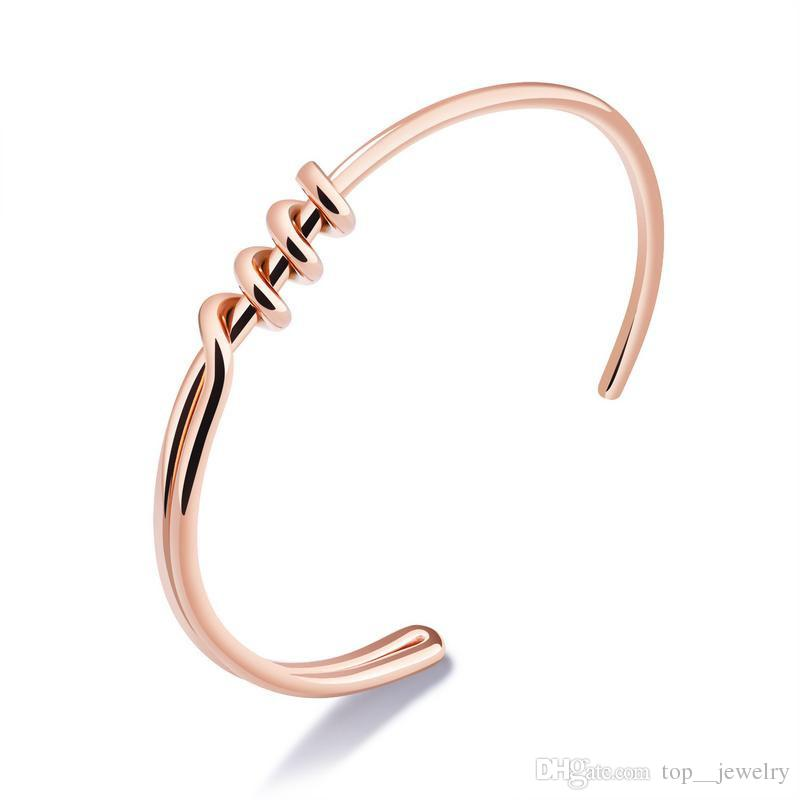 cb4e482fa Hot Sale Minimalist Rose Gold Cuff Bangle Stainless Steel Design Bangles  Punk Jewelry Personalized Spiral Wire Bracelets Gifts Baby Bangles Gold Jade  ...