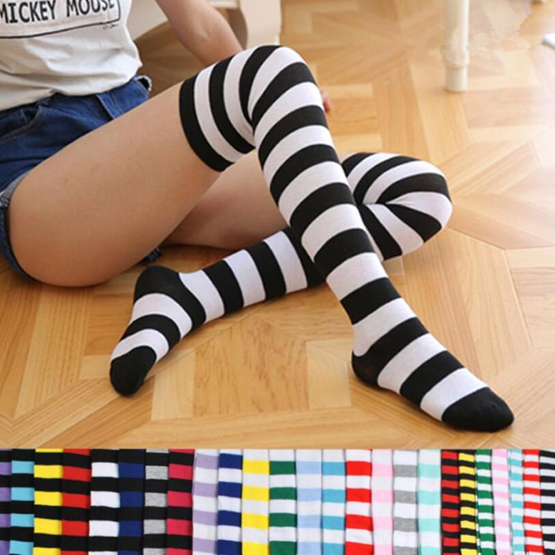 a09b6243c 2019 Fashion Cute Women Girls Kawaii Lolita Cotton Long Striped Thigh High  Stocking Anime Cosplay Over Knee Socks From Benedica