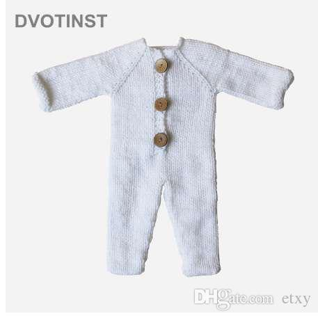 Dvotinst Newborn Photography Props for Baby Crochet Knit White Outfits Clothes Rompers Fotografia Accessories Studio Photo Prop