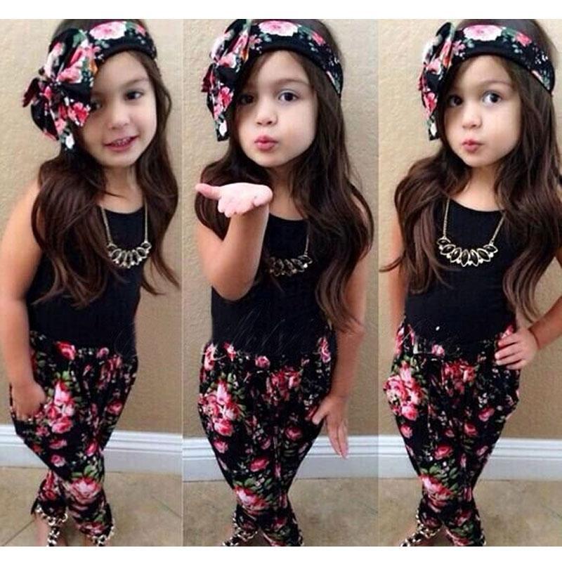 2ee5dcb37 Ropa de niña de moda conjunto traje de verano para niñas ropa de algodón  para niños conjuntos sin mangas Tops Pants diadema 3 piezas trajes de ...