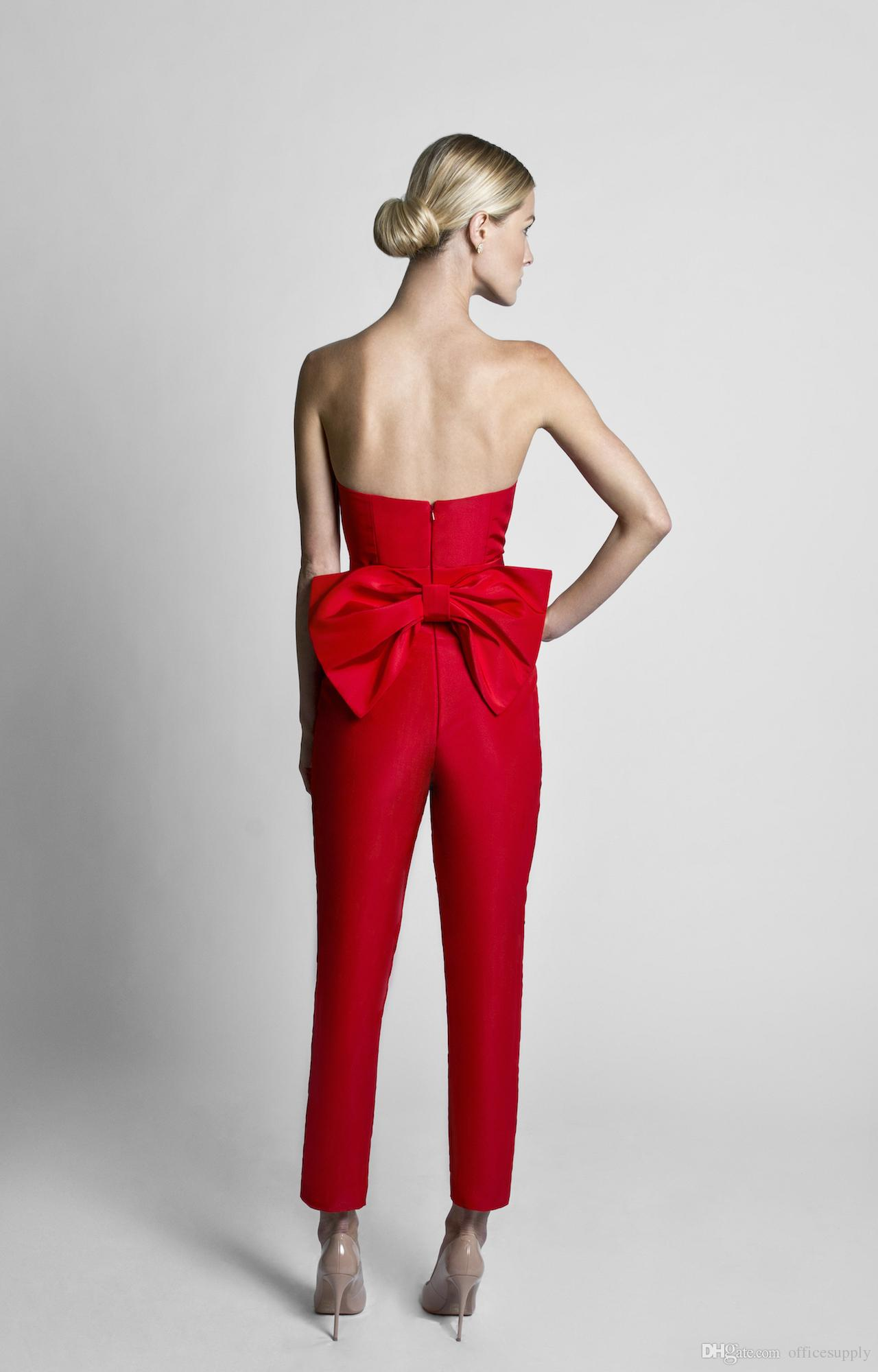 2018 Mother of the Bride Groom Suits Red Jumpsuits Celebrity Evening Dresses With Detachable Skirt Strapless Guest Party Gowns