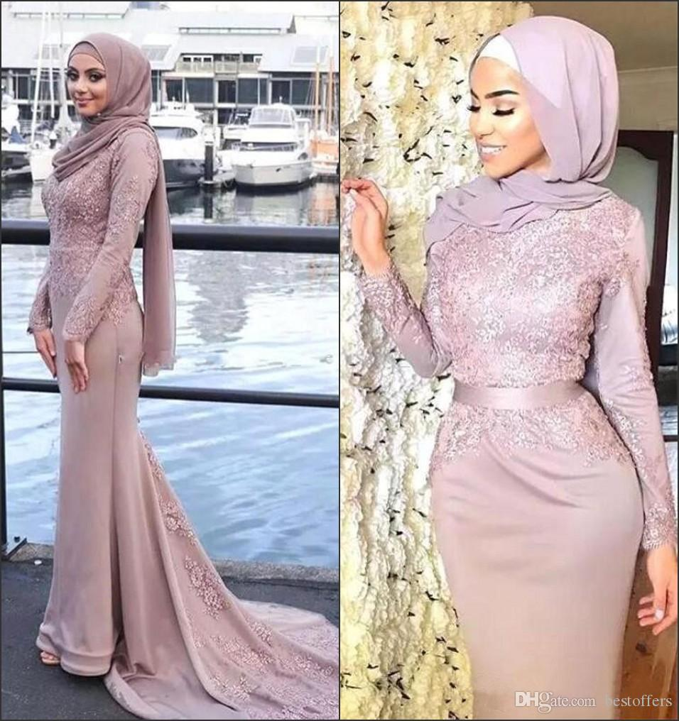 e90c4974ce New Dusty Pink Muslim Evening Dresses Hijab High Neck Long Sleeve Appliques  2018 Celebrity Gowns Mermaid Prom Dresses BA8911 Evening Dresses Size 22  Evening ...