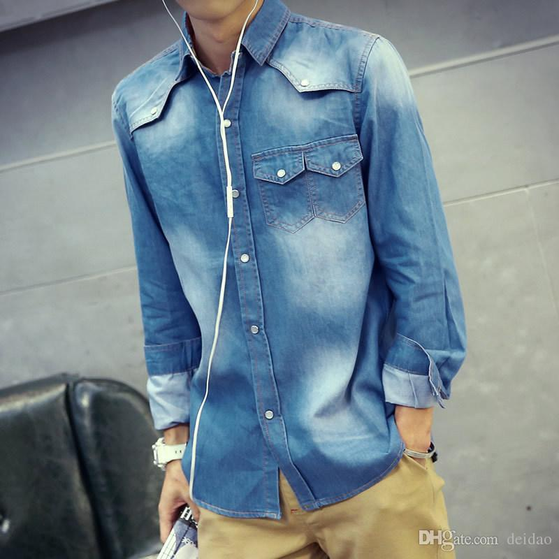 d52a0eeb06af8 2018 Wholesale New 2017 Autumn Mens Jeans Shirt With Long Sleeve High  Quality Solid Color Denim Shirts For Men Slim Camicie Jeans Camisa Social  From Deidao