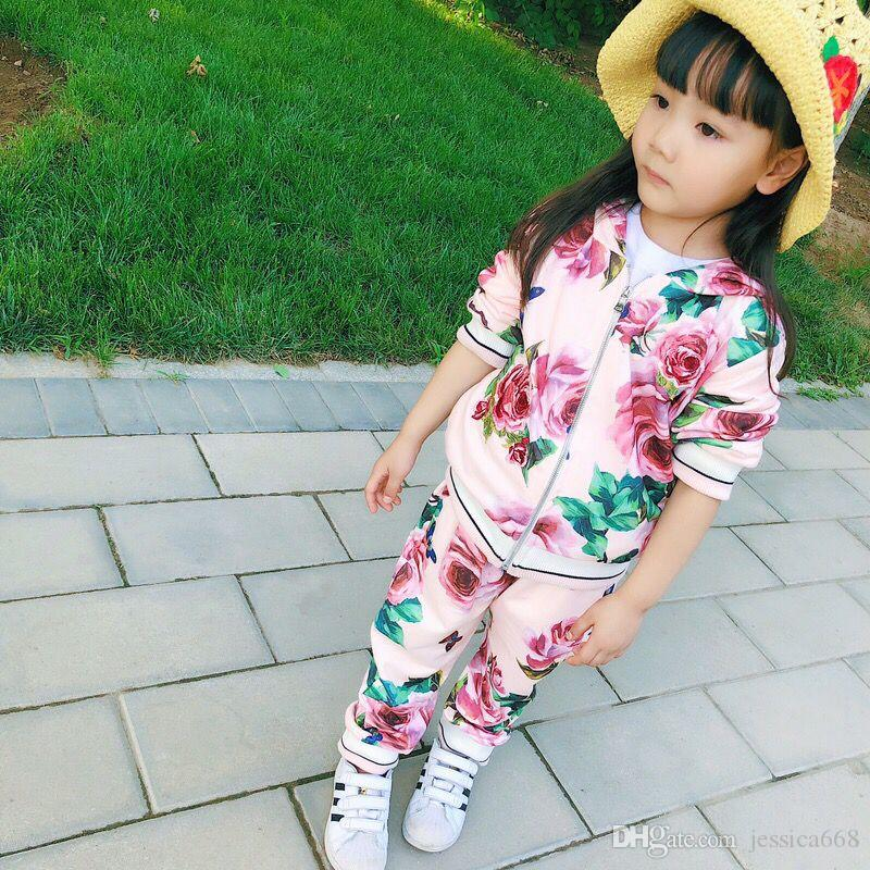 e0fc1ca22db1 New Arrival Spring Autumn Brand Fashion Rose Girls Clothes 2-9Y Kids ...