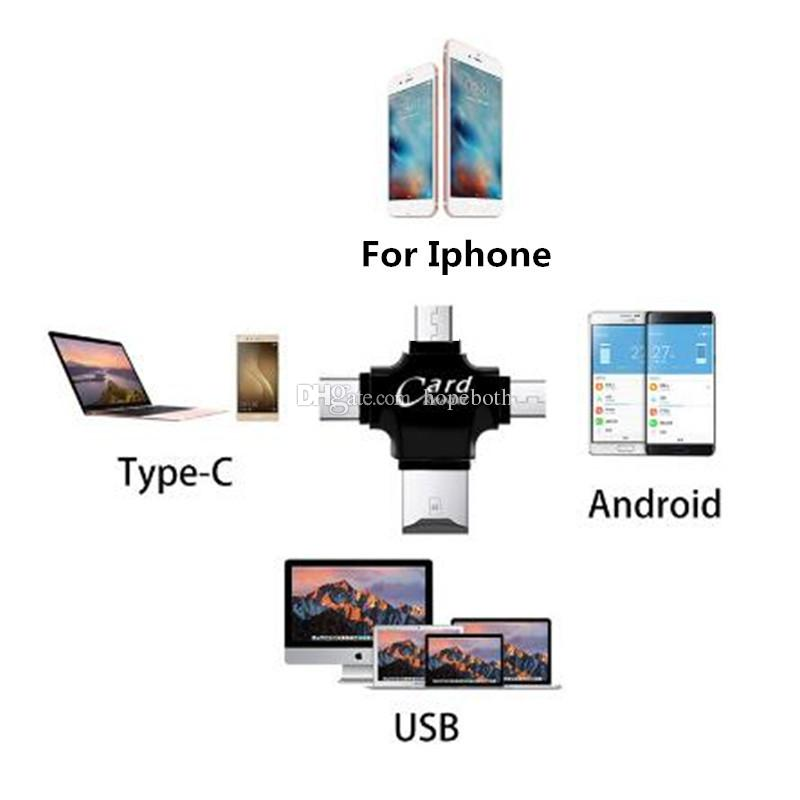 4 in 1 Type-c/Lightning/Micro USB/USB 2.0 Memory Card Reader Micro SD Card Reader for Android iph 5 7 OTG reader