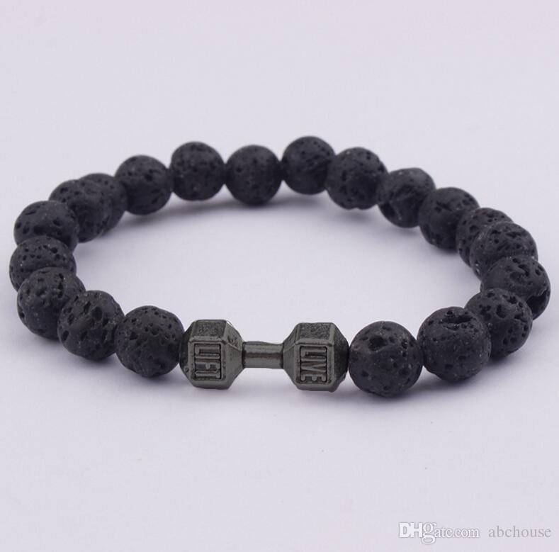 Regalo al por mayor para hombre Nueva Llegada de Aleación de Metal Barbell Lava Rock Stone Beads Fitness Moda Mancuernas Pulseras 30 unids