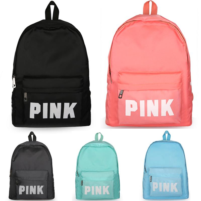 Backpack Pink Letter Backpacks Canvas Handbag