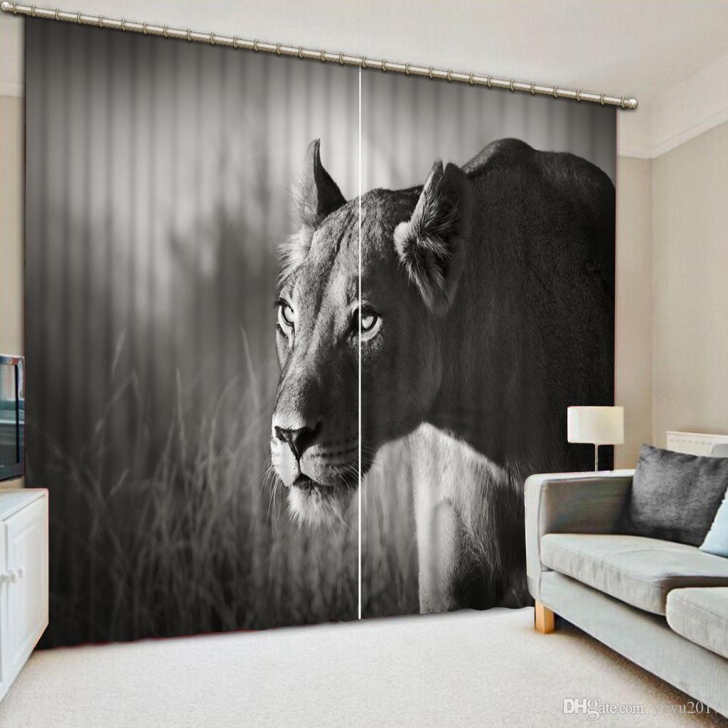 American Style Black Curtains Animal Photo Pinting Curtain For Kids room  New Living Room Bedroom Sheer Curtains