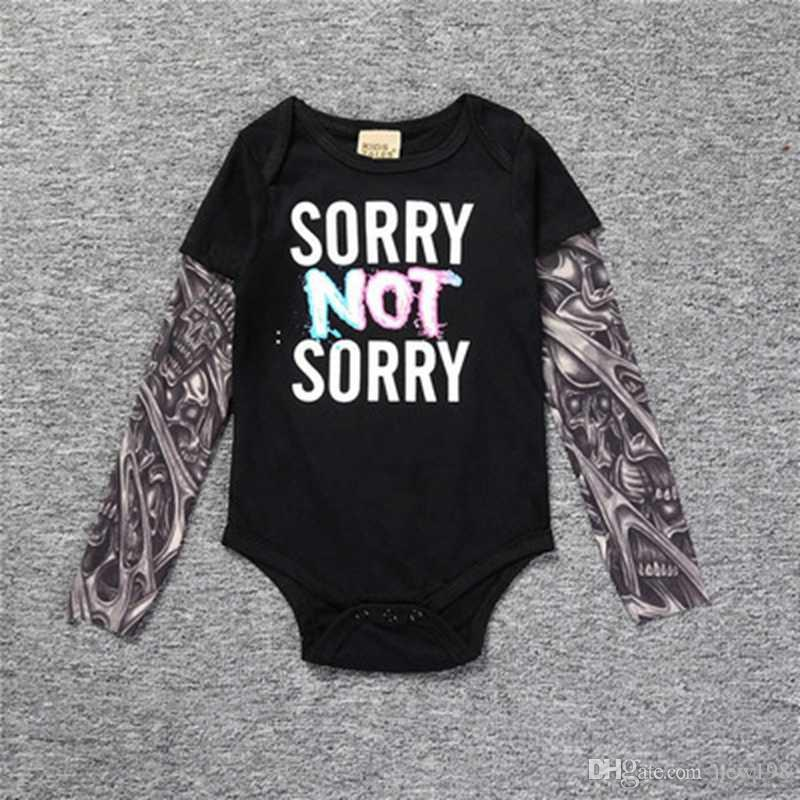 db21a1df69c6 Cute Baby Bebes Boys Fashion Infant Long Sleeve Cotton Tattoo Floral ...