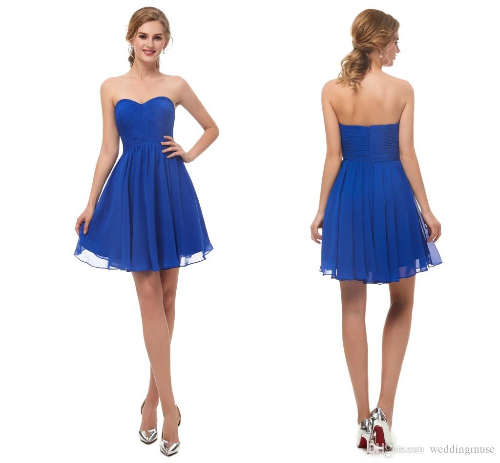 1320947acf6 Sweetheart Royal Blue Short Graduation Dress 8th Grade Sleeveless A Line  Chiffon Prom Dresses Mini Homecoming Cocktail Dress Maternity Cocktail  Dresses ...