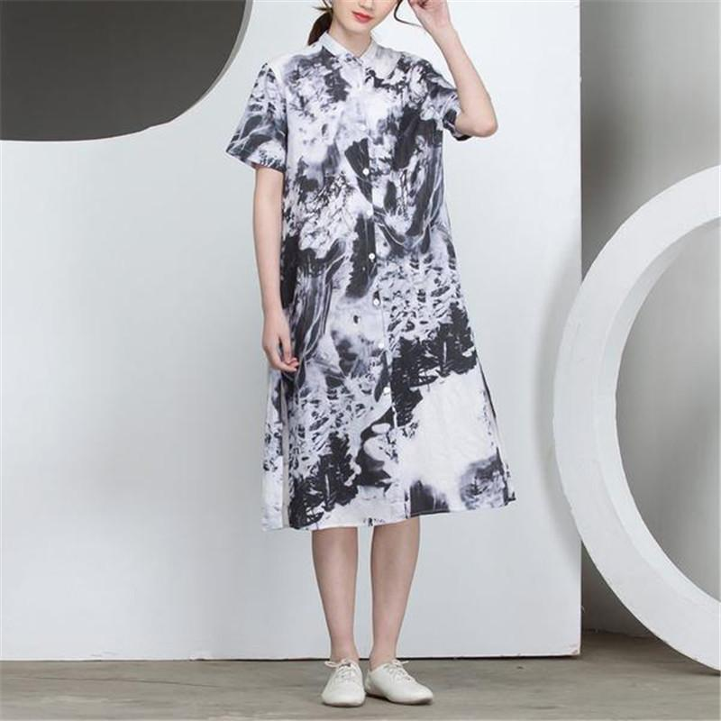 24de7155d BUYKUD 2018 Summer Printed Splitting Cotton Loose Irregular Women Dress  Single Breasted Stand Collar Short Sleeve Midi Dresses White Cocktail Dress  Ladies ...
