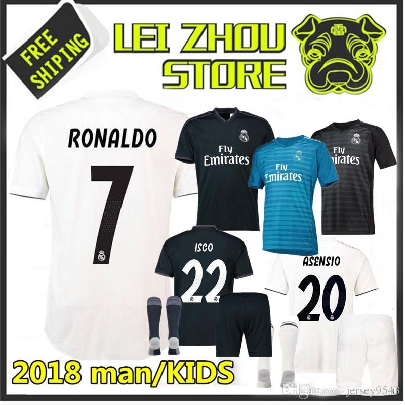 2018 Real Madrid Home Away Soccer Jersey 18 19 Man KIDS Ronaldo ... 7db46f414