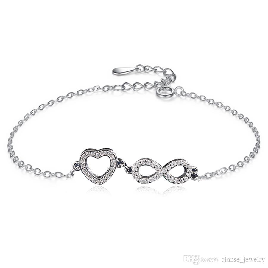Authentische Zirkonia InfinityHeart Form Armband 925 Sterling Silber Zwei  Anhänger Kristall Bettelarmband für Frauen 0855475608