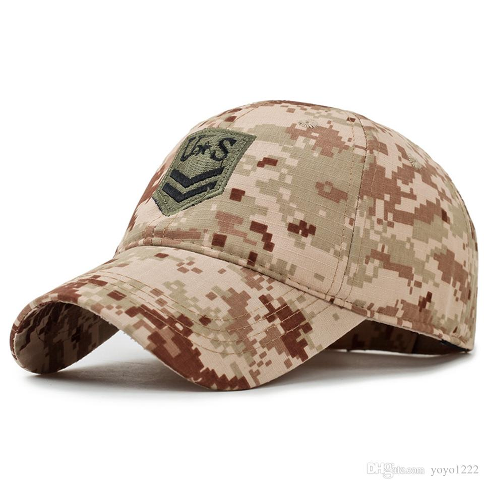 Wholesale LTGFUR New Camo Flat Cap US Army Cap Men Baseball Cap Camouflage  Mens Snapback Bone Tactical Sport Hats For Adult