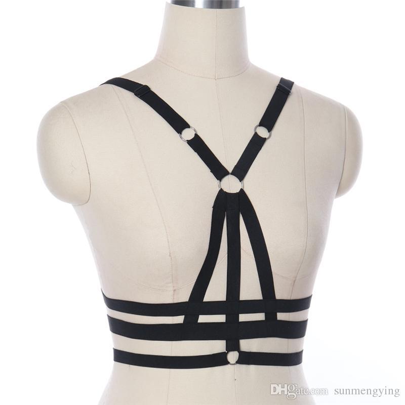 2018 mode frauen sexy schwarz hohl harness strap bh gothic harajuku stil frauen underwear elastische einstellbare party club karneval kosten