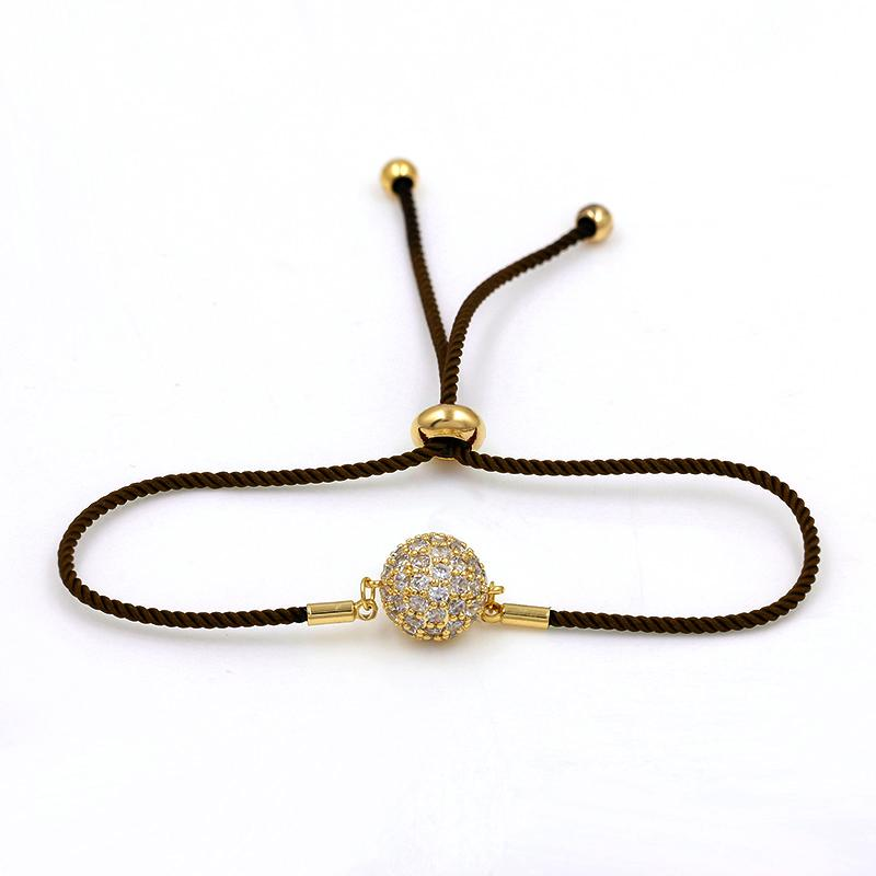 Silver / Gold Color Plated Cubic Zirconia Crystal Pave Ball Adjustable Bracelets for Women or Wedding with Wax Cord