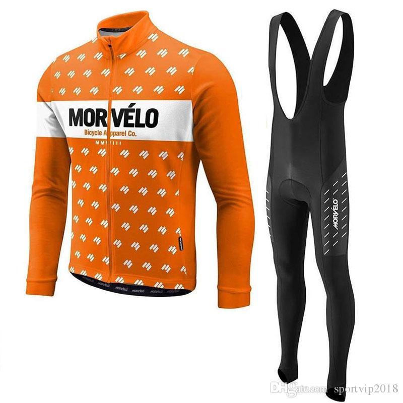 2020 Yeni Morvelo Nefes Uzun Kollu Erkek İlkbahar / Sonbahar Takım Bisiklet Jersey Bisiklet Önlüğü Uzun Pantolon Seti Ropa Maillot Ciclismo C626-126