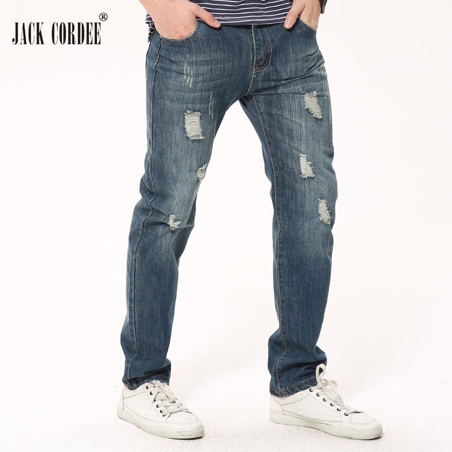 994a228da2 Compre Jack Cordee Nuevo 2017 Moda Pantalones Vaqueros Rasgados Para Hombres  Pantalones De Mezclilla De Agujero Recto Masculino Más Tamaño Casual  Pantalones ...