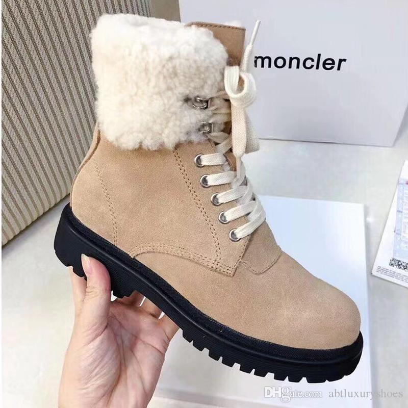 M0NCLER Ankle Boots For Women Casual Design Snow Boot Plush Lace Up Warm  Cotton Ladies Shoes Fur Female Winter Boots Luxury Brand Lady Shoes Boots  Office ... 32b4b1f1d6