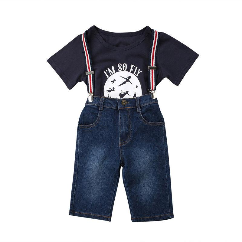 cd8fe2f341 2019 Children Baby Boys Girls Clothes Set Denim Bib Pants Outfits ...