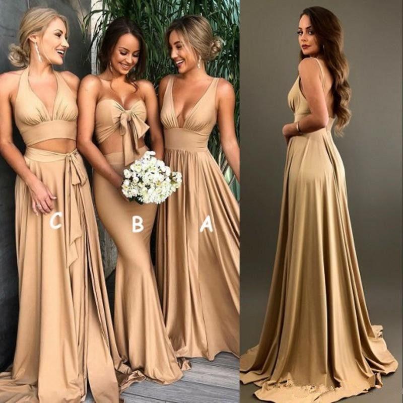 Sexy Ouro Dama de Honra Vestidos com fenda 2018 A Linha V Neck Longo Boho país praia Vestidos de Madrinha de Honra Plus Size Wedding Guest Wears
