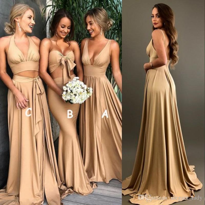 Vestidos sexy de dama de honra de ouro com fenda 2018 uma linha v pescoço longo boho país praia dona de dona de honra plus tamanho wedding hóspede desgaste
