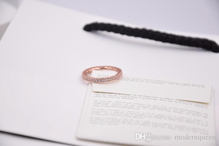 Anelli di cuore in oro rosa S925 Silver Silver gioielli stile originale 180963CZ H8ALE H8