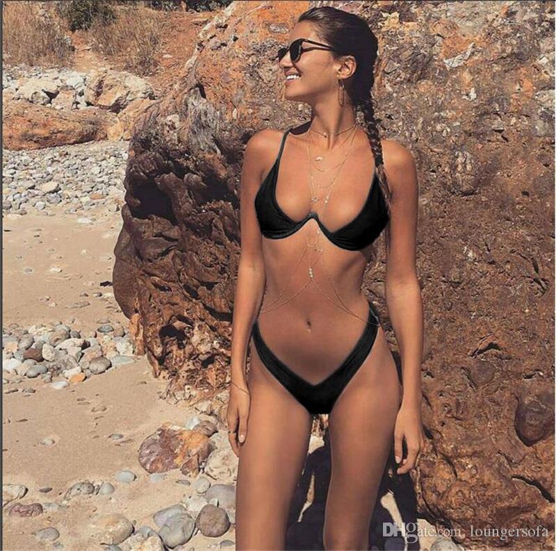 Maillot de bain femme taille haute string maillot de bain taille basse sexy femme ensemble bikini brésilien biquini dame maillot de bain 18yl v