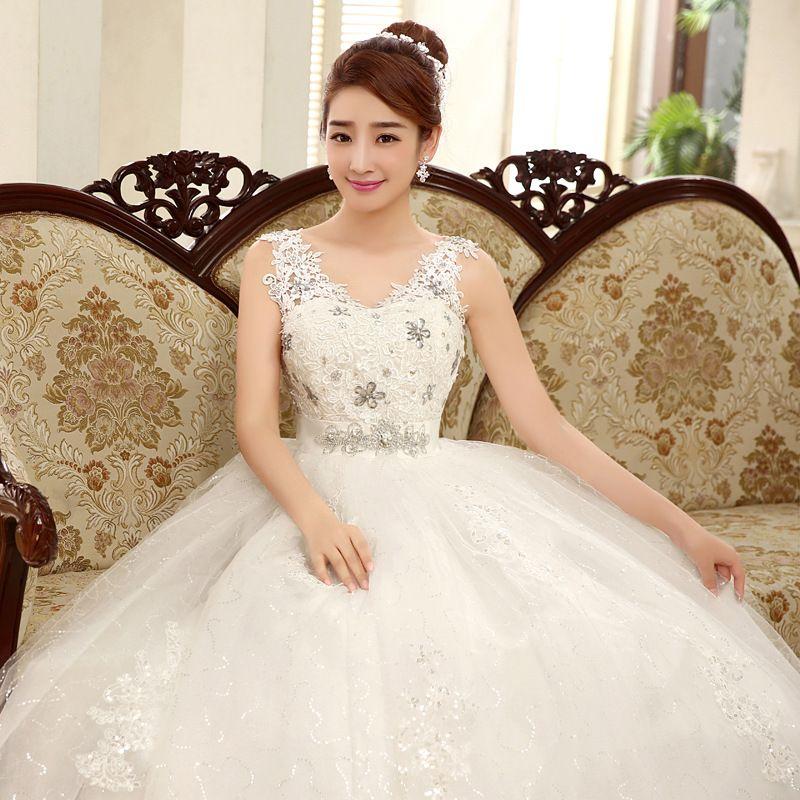 2018 Korean Style Sexy V Neck Lace Wedding Dress Wholesale Cheap